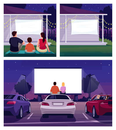 Weekend movie night semi flat vector illustration set. Couple on drive in romantic date. Parents watch film on projection with son. Family 2D cartoon characters for commercial use collection