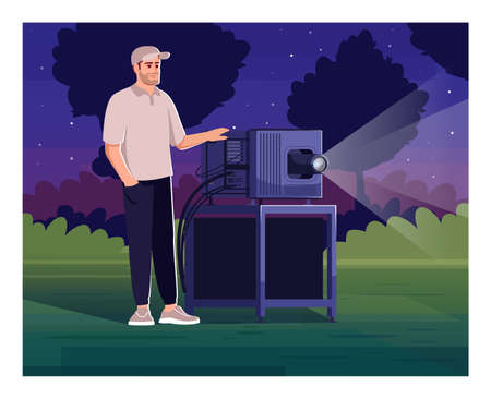 Cameraman for outdoor cinema semi flat vector illustration. Specialist with projection device for weekend festival. Backyard film show. Movie projectionist 2D cartoon characters for commercial use