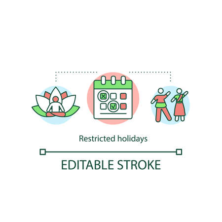 Restricted holidays concept icon. Indian public celebrations. Festivals and events calendar. Optional holidays idea thin line illustration. Vector isolated outline RGB color drawing. Editable stroke