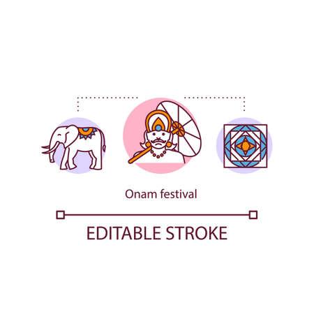 Onam festival concept icon. Hindu holidays. Kerala and Malayali festivals. Indian harvest festival idea thin line illustration. Vector isolated outline RGB color drawing. Editable stroke