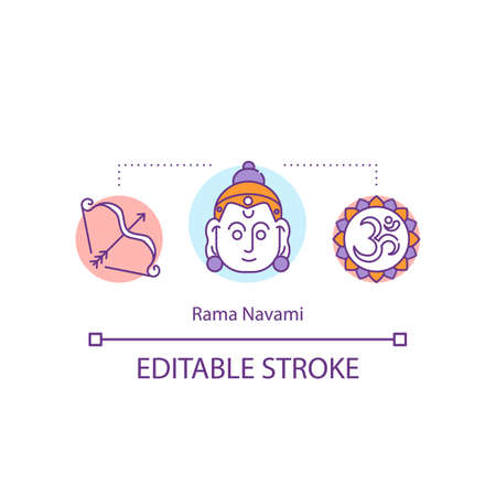 Rama Navami concept icon. Hindu festival. Indian holidays and celebrations. Public holidays in Nepal idea thin line illustration. Vector isolated outline RGB color drawing. Editable stroke