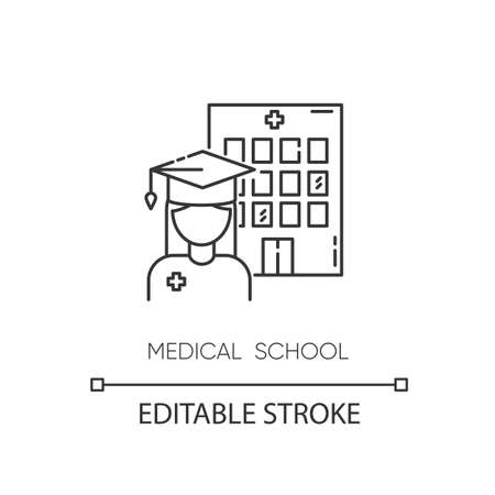 Medical school pixel perfect linear icon. Vocational education, professional university thin line customizable illustration. Contour symbol. Vector isolated outline drawing. Editable stroke Ilustração