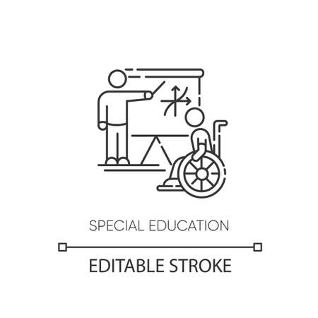 Special education pixel perfect linear icon. Inclusive education thin line customizable illustration. Contour symbol. Student and personal teacher vector isolated outline drawing. Editable stroke