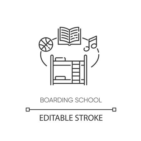 Boarding school pixel perfect linear icon. Educational institution with accommodation. Dorm thin line customizable illustration. Contour symbol. Vector isolated outline drawing. Editable stroke