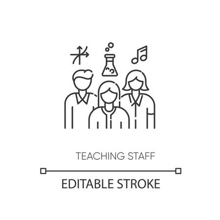 Teaching staff pixel perfect linear icon. Mathematics, chemistry and music teachers thin line customizable illustration. Contour symbol. Vector isolated outline drawing. Editable stroke Ilustração