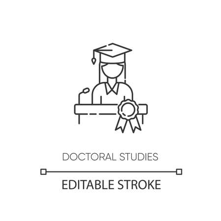 Doctoral studies pixel perfect linear icon. College graduation, academic achievement thin line customizable illustration. Contour symbol. PhD student vector isolated outline drawing. Editable stroke
