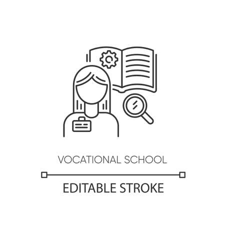 Vocational school pixel perfect linear icon. Professional skills development, specialty education thin line customizable illustration. Contour symbol. Vector isolated outline drawing. Editable stroke Ilustração
