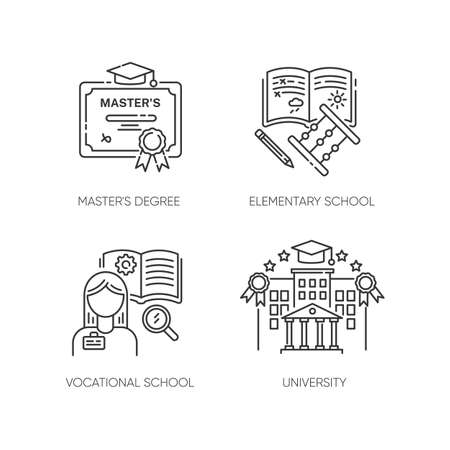 Primary and higher education pixel perfect linear icons set. Diploma, elementary school, university Customizable thin line contour symbols. Isolated vector outline illustrations. Editable stroke