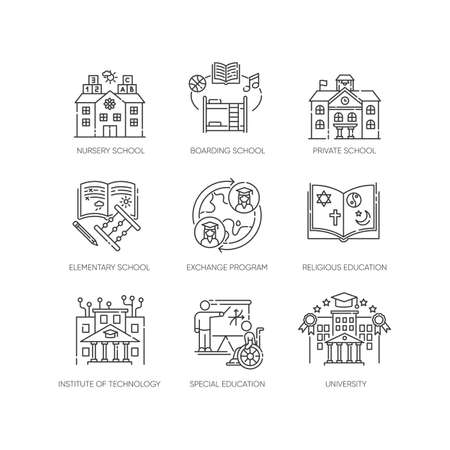 Academic education pixel perfect linear icons set. Public and private school services Customizable thin line contour symbols. Isolated vector outline illustrations. Editable stroke