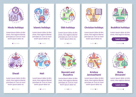 Indian holidays onboarding mobile app page screen with concepts set. Buddhist holidays. Navratri. Dussehra. Walkthrough 5 steps graphic instructions. UI vector template with RGB color illustrations 向量圖像