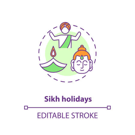 Sikh holidays concept icon. Indian religious festivals, traditions and culture celebration. Sikhism idea thin line illustration. Vector isolated outline RGB color drawing. Editable stroke Ilustração