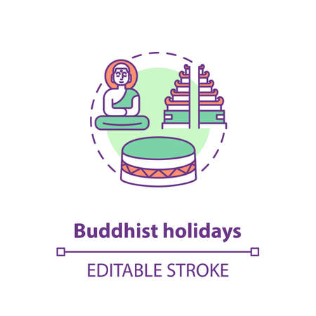 Buddhist holidays concept icon. Religious indian festivals celebration. Buddhism idea thin line illustration. Buddha, temple and drum vector isolated outline RGB color drawing. Editable stroke 向量圖像