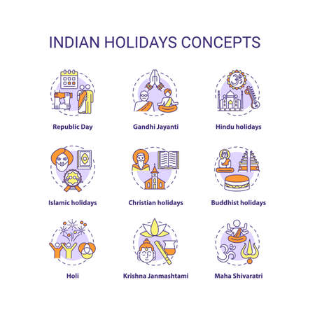Indian holidays concept icons set. India customs and traditions idea thin line RGB color illustrations. National and religious festivals. Vector isolated outline drawings. Editable stroke Çizim