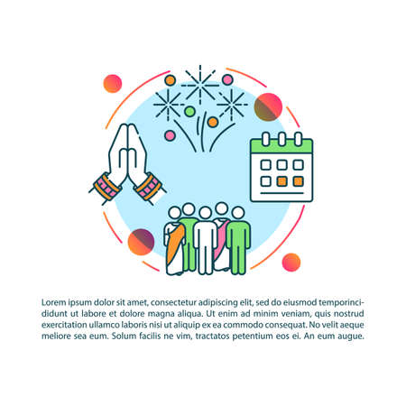 Indian holidays and festivals concept icon with text. Fests in India. Celebrations. Public holidays. PPT page vector template. Brochure, magazine, booklet design element with linear illustrations