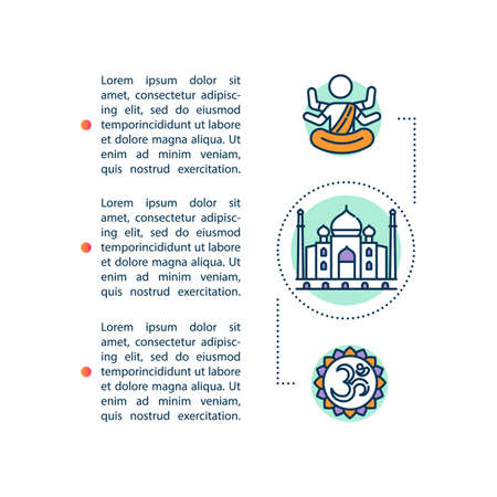 Indian religious holidays concept icon with text. Cultural and traditional symbols in India. PPT page vector template. Brochure, magazine, booklet design element with linear illustrations