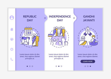 National Indian holidays onboarding vector template. Bank holidays. Republic Day. Independence Day. Responsive mobile website with icons. Webpage walkthrough step screens. RGB color concept