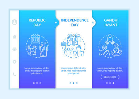 National Indian holidays onboarding vector template. Public holidays in India. Gandhi Jayanti. Responsive mobile website with icons. Webpage walkthrough step screens. RGB color concept