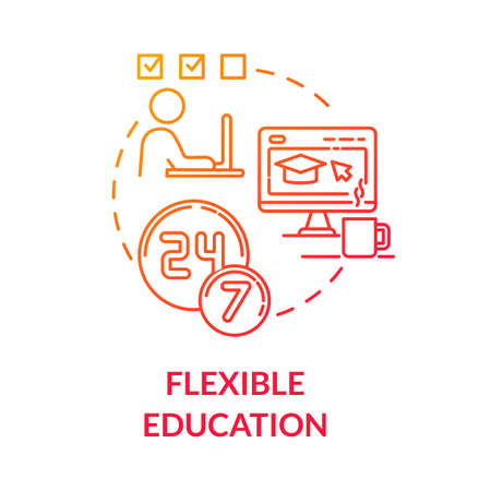 Flexible education concept icon. Hybrid learning. Homeschooling. E learning. Digital classrooms. Online courses idea thin line illustration. Vector isolated outline RGB color drawing Ilustracje wektorowe