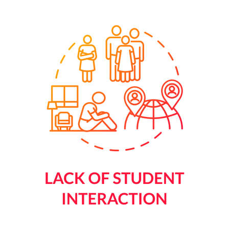 Lack of student interaction concept icon. Social and communication skills. Distance education disadvantages idea thin line illustration. Vector isolated outline RGB color drawing Vettoriali