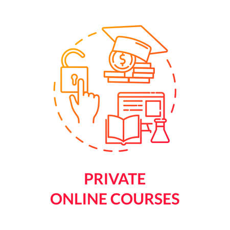 Private online courses concept icon. Remote education. Distance learning. Chargeable courses. Online tutoring idea thin line illustration. Vector isolated outline RGB color drawing