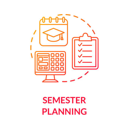 Semester planning concept icon. Students workload. Remote studying process. Curriculum. University education idea thin line illustration. Vector isolated outline RGB color drawing Иллюстрация