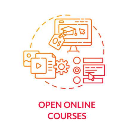 Open online courses concept icon. Distance education. Internet platforms and courses for students. E learning idea thin line illustration. Vector isolated outline RGB color drawing