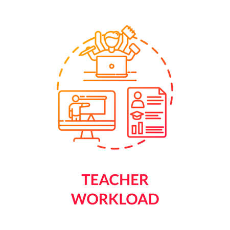 Teacher workload concept icon. Webinars and remote education. Online tutor. Professors performance. Multitasking. idea thin line illustration. Vector isolated outline RGB color drawing