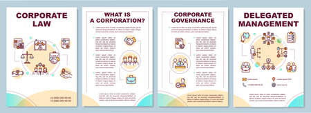 Corporate law brochure template. Delegating and managing. Flyer, booklet, leaflet print, cover design with linear icons. Vector layouts for magazines, annual reports, advertising posters