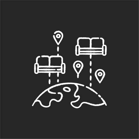 Couchs urfing chalk white icon on black background. Budget tourism. Finding affordable accommodation in travel. Hospitality exchange. World map with couches isolated vector chalkboard illustration