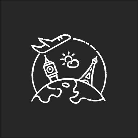 International tourism chalk white icon on black background. Worldwide sightseeing tour, tourist agency service. Visiting worlds famous architectural sites. Isolated vector chalkboard illustration Illustration