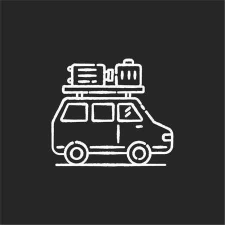 Road trip chalk white icon on black background. Budget tourism, family vacation. Holiday season recreational activity, traveling by car. Auto with luggage isolated vector chalkboard illustration Vectores