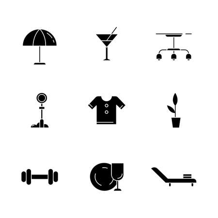 Lifestyle black glyph icons set on white space. Beach umbrella. Vermouth in glass. Lamp hanging from ceiling. Signpost for traffic. Barbell for sport. Silhouette symbols. Vector isolated illustration Illustration