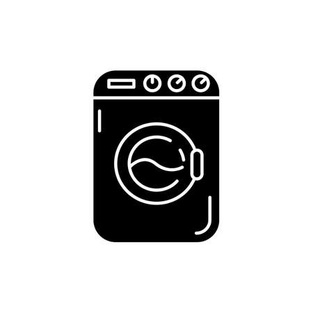 Laundromat black glyph icon. Public laundry place. Electric washing machine. Apartment amenity. Technology to tide garment. Silhouette symbol on white space. Vector isolated illustration 向量圖像