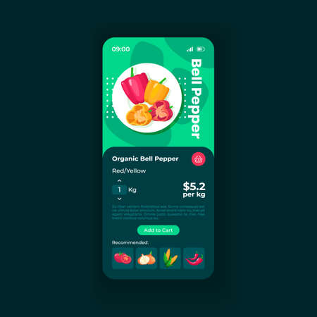 Online market smartphone interface vector template. Eco product adding to cart. Mobile app page black theme design layout. Flat UI for application screen. Supermarket delivery service. Phone display