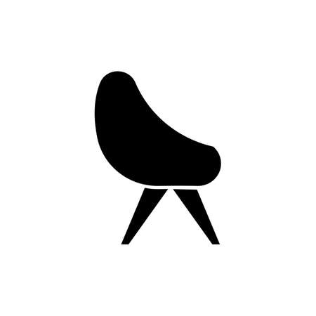 Chair black glyph icon. Armchair for home interior. Contemporary living room furniture. Apartment amenities, furnishing for home. Silhouette symbol on white space. Vector isolated illustration