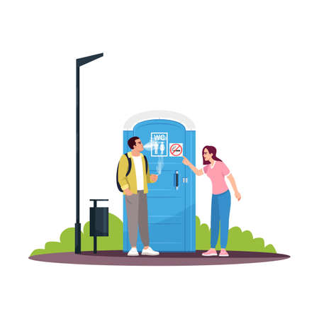 Man smoking next to a no smoking WC semi flat RGB color vector illustration. Criticizing for breaking rules. Blue portable unisex public toilet. Isolated cartoon character on white background