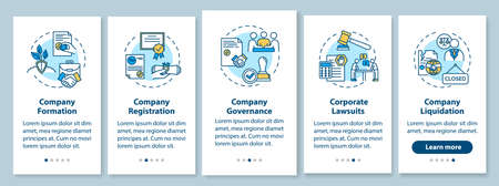 Corporate law onboarding mobile app page screen with concepts. Company formation. Business life cycle walkthrough 5 steps graphic instructions. UI vector template with RGB color illustrations