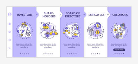 People involved in corporation onboarding vector template. Shareholders and investors. Employees.Responsive mobile website with icons. Webpage walkthrough step screens. RGB color concept Illustration