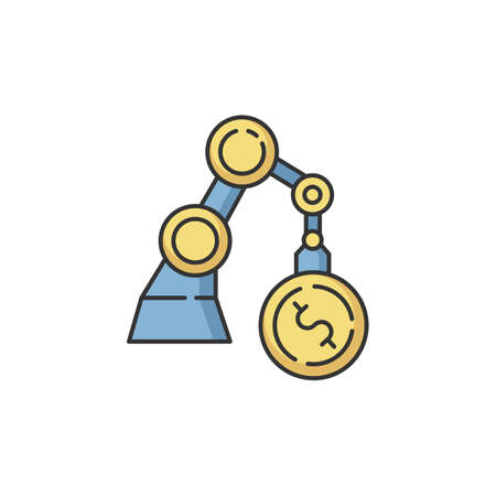 Business RGB color icon. Industrial production. Financial operation. Economy and banking. Factory automation. Machinery investment. Manufacture to make income. Isolated vector illustration