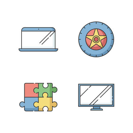 E commerce products RGB color icons set. Electronic devices. Automobile tyre. Car tire. Wheel with disk. Monitor for TV. PC digital screen. Laptop and notebook. Isolated vector illustrations