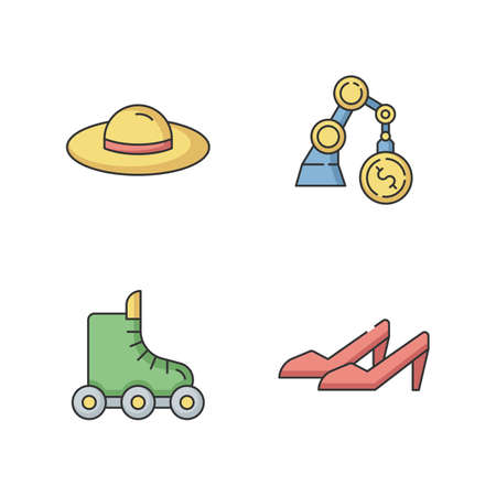 Fashion industry RGB color icons set. Woman summer hat. Commercial business. Income from investment. Roller skates for sport and recreation. High heels. Isolated vector illustrations