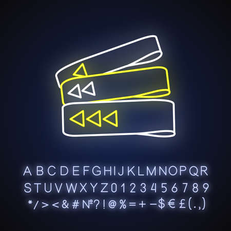 Resistance bands neon light icon. Outer glowing effect. Home gym equipment for fitness exercise sign with alphabet, numbers and symbols. Sportive elastic bands vector isolated RGB color illustration
