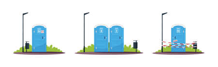Portable public toilets semi flat RGB color vector illustration. Outdoor convenience, restroom. Separated mobile lavatories. Closed wc. Isolated cartoon objects on white background