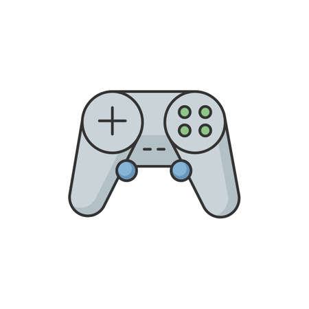 Gamepad RGB color icon. Video game controller. Portable console device. Wireless joystick for play station. Electronic device for entertainment. Modern technology. Isolated vector illustration