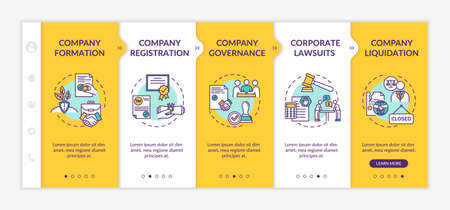 Company life cycle onboarding vector template. Corporation formation and liquidation. Corporate law. Responsive mobile website with icons. Webpage walkthrough step screens. RGB color concept