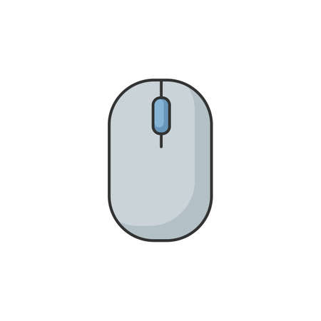 Computer mouse RGB color icon. Click to scroll. Browse internet. Portable gadget. Electronic device to work with computer. Optical technology for laptop. Isolated vector illustration