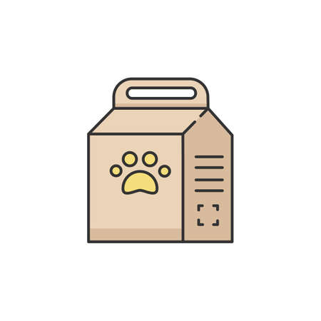 Pet food bag RGB color icon. Package of cat treat. Snack for domestic animal. Online petshop. Package with paw sign. Treat for kitten. Nutritious snack in packet. Isolated vector illustration