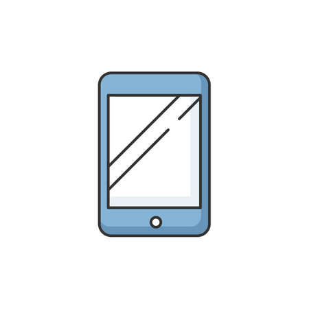 Tablet RGB color icon. Electronic device. Portable gadget. Smartphone screen. Blank ebook. Empty touch screen of mobile phone. Modern technology. Digital tablet. Isolated vector illustration