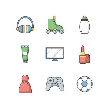 Online shop departments RGB color icons set. Electronic gadgets. Portable device. Headset for DJ. Roller skates. Sport and recreation. Child care. Fashion and beauty. Isolated vector illustrations