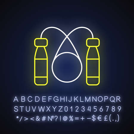 Jump rope neon light icon. Outer glowing effect. Home workout equipment, healthy lifestyle sign with alphabet, numbers and symbols. Skipping rope vector isolated RGB color illustration